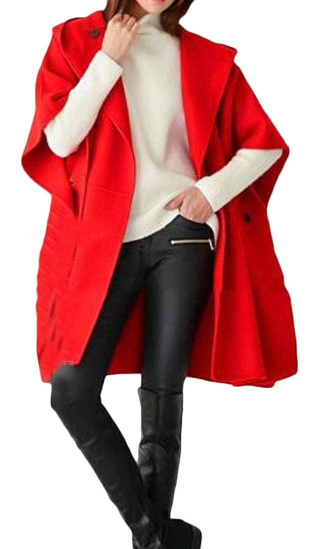 Joe Wenko Women's Plus Size Wool Blended Hooded Cape Poncho Outwear Pea Coat