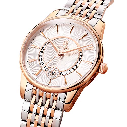 (Women's Wrist Watch ROCOS Japanese Quartz Rose Gold Dress Watch with White Dial Ladies Crystal Analog Watches Luxury Classic Elegant Gift #R0120 (Silver))