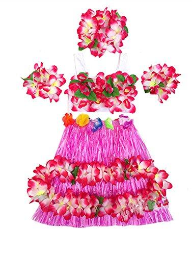 Kids Girl's Elastic Hawaiian Hula Dancer Grass Skirt with Top and Hawaiian Flower Costume Set (Hula Dancer Costume)