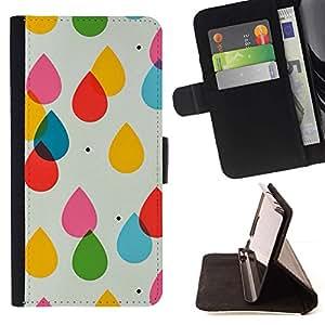 Momo Phone Case / Flip Funda de Cuero Case Cover - Gotas Arte Modelo sutil - Huawei Ascend P8 (Not for P8 Lite)