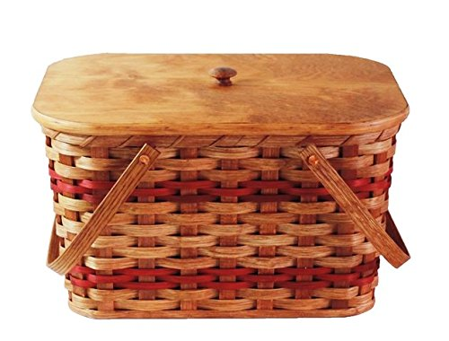 Amish Handmade Medium Picnic Basket w/Inside Tray, Lid, and Two Swinging Handles IN RED
