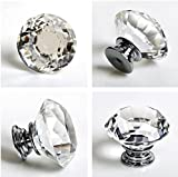 Eshowy High Quality 4 X 40MM Clear Crystal Glass Diamond Cut Door Knobs Kitchen Cabinet Drawer knobs+Screw Home Decorating