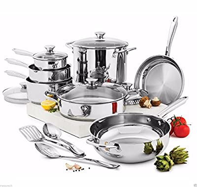 (Ship from USA) Wolfgang Puck Cooking 15-Pc stainless steel Cookware Set Pans Pots Glass Lids /ITEM NO#8Y-IFW81854215189