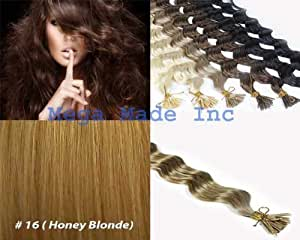 25 Strands Deep Wave Curly Micro Ring Links Needle Stick Head I Tip Human Hair Extensions Color #16 Honey Blonde