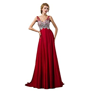 43bab1791 Amazon.com  vimans Women s 2016 Long V Neck Beaded Lace Formal Party ...