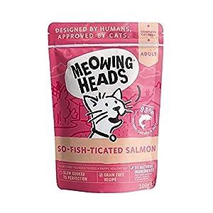 Meowing Heads Comida Húmeda para Gatos – So-Fish-Ticated Salmon – 93% Natural con Salmón, Pollo y Ternera sin aromas…