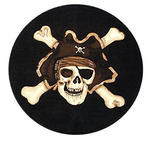 Pirate Skull Round Design Black