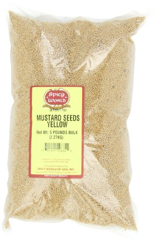 Spicy World Yellow Mustard Seeds Bulk, 5-Pounds