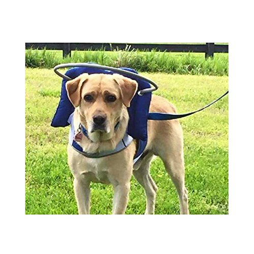 Muffin's Halo Blind Dog Harness Guide Device - Help for Blind Dogs or Visually Impaired Pets to Avoid Accidents & Build Confidence - Ideal Blind Dog Accessory to Navigate Surroundings - Blue- Large