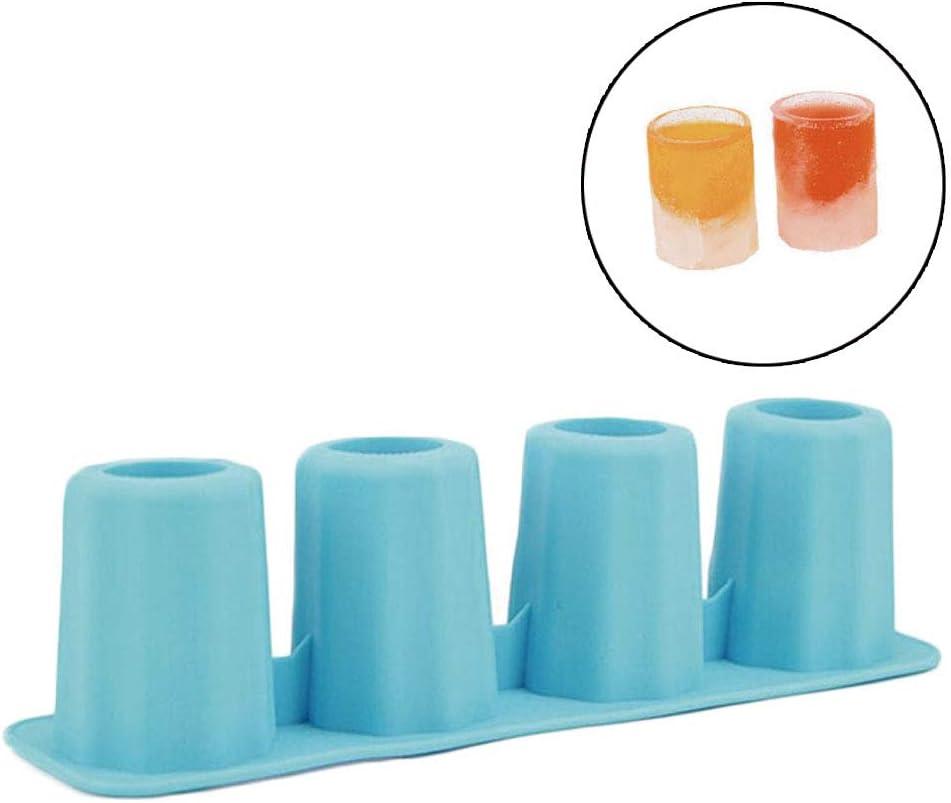 4 Forma De Copa De Silicona Cubo De Hielo del Molde Tiradores Vidrio De Tiro del Molde del Hielo De La Bandeja Partido De La Barra De La Cerveza La Bebida del Hielo Accesorios para Herramientas, Azul