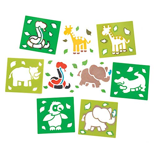 Safari Animal Stencils - Baker Ross Jungle Animal Stencils (Pack of 6) for Kids Arts and Crafts