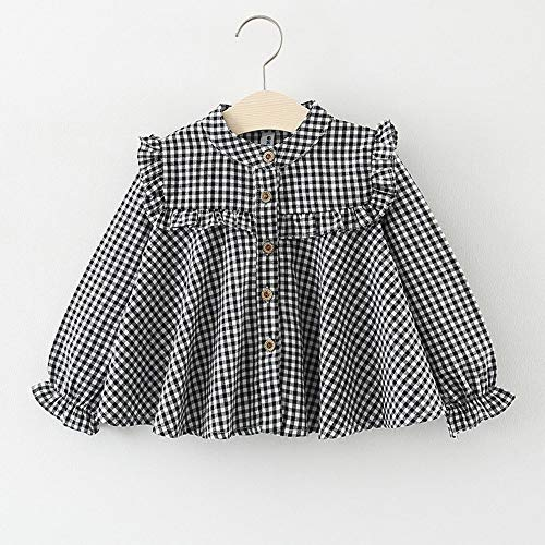 AMSKY Baby Clothes Dividers Girl,Newborn Infant Baby Girl Long Sleeve Plaid Ruffle T Shirt Tops Clothes Outfits,Black,70 -