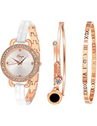 Women's Round Case Crystal Accented Gold Tone Bangle Watch and Bracelet Sets D3866L-W