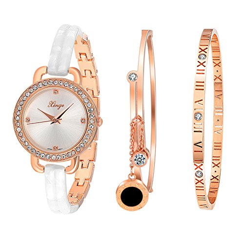 Xinge Bangles Bracelet Watch Set for Women with Crystals Rose Gold Tone D3866L-W