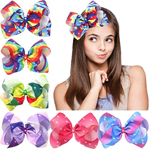 Bling Hair Bow - 8 Inches Big Giant Colorful Pop Bows Grosgrain Ribbon Boutique Bling Sparkly Rainbow Hair Bows Alligator Clips For Baby Girls Teens Toddlers Gifts Set Of 6