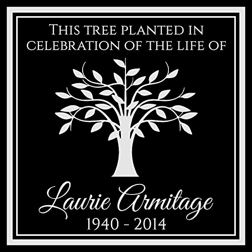 Custom Made Personalized Tree Planting Dedication Ceremony Memorial 12x12 Inch Engraved Black Granite Grave Marker Headstone Plaque LA1 - Anniversary Keepsake Tile
