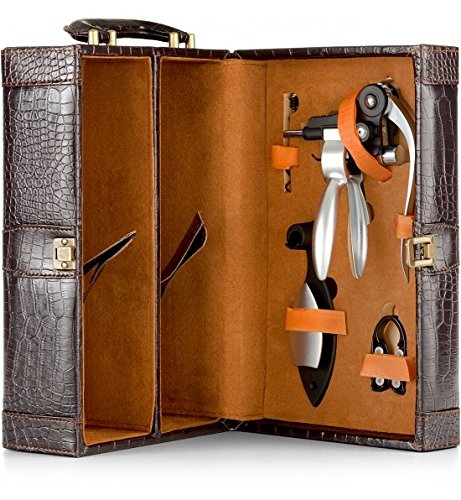 Champagne Lever Hand (GiftTree Dual Wine Travel Tote Carrier   Includes a Lever Style Corkscrew, Stand, Foil Cutter and Replacement Corkscrew)