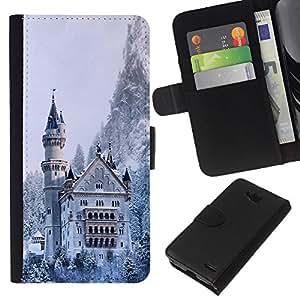 KLONGSHOP // Tirón de la caja Cartera de cuero con ranuras para tarjetas - Arquitectura Castillo Nevado Invierno - LG OPTIMUS L90 //