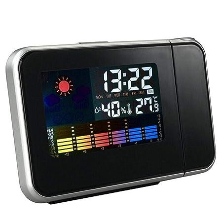 hgfch Reloj Despertador de proyección con láser Digital Proyector ...