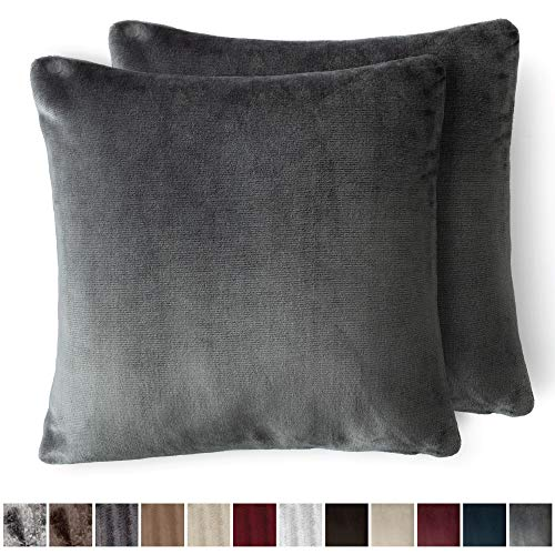The Connecticut Home Company Original Velvet Pillowcases, Set of 2 Solid Decorative Case Sets, Throw Pillow Covers, Luxury Soft Cases for Bedroom, Living Room, Sofa, Couch & Bed (18x18 inch, Gray)