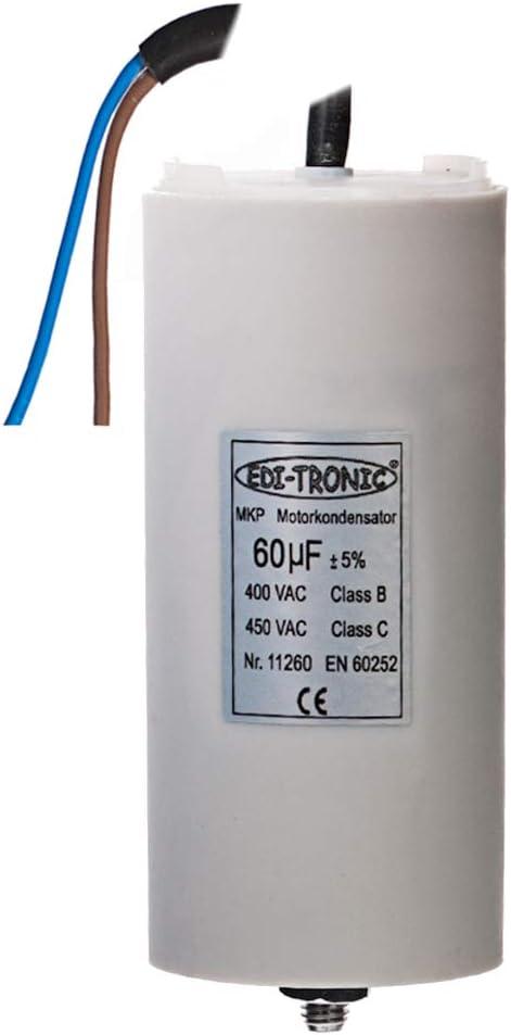 Kondensator Anlaufkondensator Motorkondensator Arbeitskondensator Kabel 60µf 450v Baumarkt