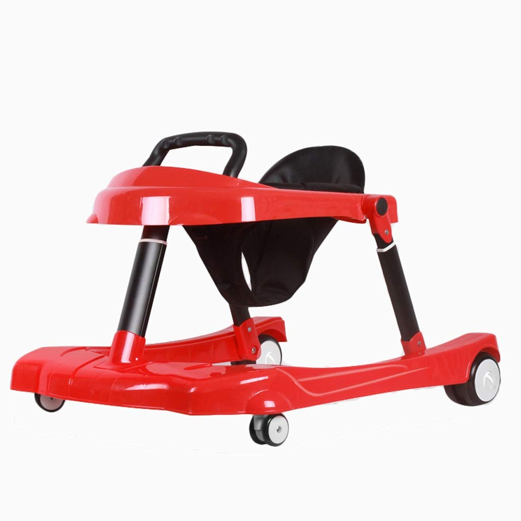 Baby Child Kids Walker, U-Shaped with Brake Can Folding Anti-Rollover Can Sit and Push Boy Girl Baby Height-Adjustable for 6-24 Months Maximum Load 30 Kg (Color : Red) by Moolo