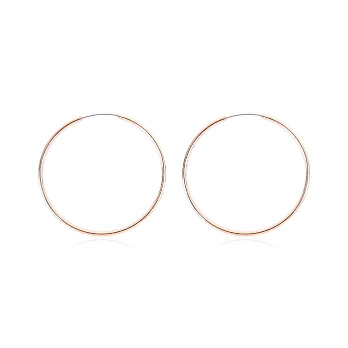f17899dc00e9d MYS Collection Lightweight Endless Simple Hoop Earrings - Infinity Round  Circle Seamless Thin Hoops