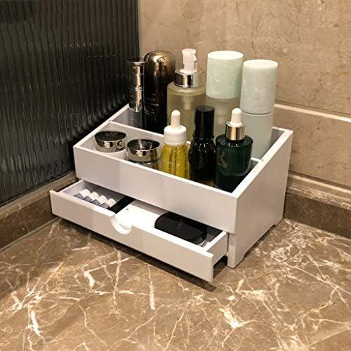 化粧品収納ボックス 家庭用木製引き出し化粧品収納ボックス多機能大容量ジュエリースキンケアラックブラックホワイトブラウン AFQHJ (Color : White)