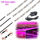LED Grow Lights,5ft 3Pcs Waterproof Flexible Soft Strip Grow LED Light 18W Red Blue 5:1 With DC 12V 2A Adaptor For Plants Flower Herbs Seeds Seedlings Growing,Greenhouse,Potted Plant,Hydroponic Garden