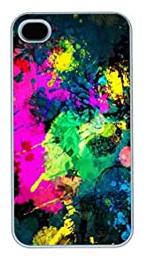 iPhone 4S Cases - iPhone 4S Cases & Covers - Colorful Paint Splatter Custom Design PC Hard Case Cover for iPhone 4 and 4S White