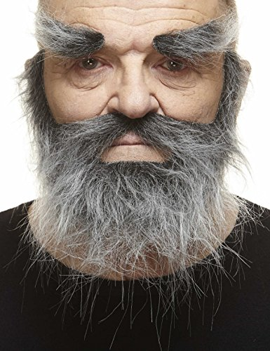 Fake Grey Beard (Mustaches Self Adhesive, Novelty, Realistic, Traper Fake Beard Fake Mustache and Fake Eyebrows, Salt and Pepper)