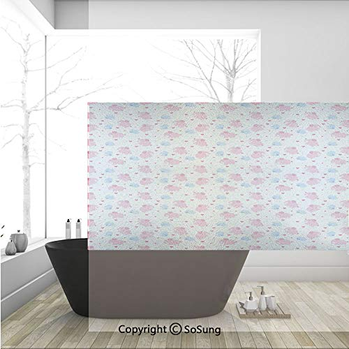 - 3D Decorative Privacy Window Films,Cheerful Cute Kids Pattern with Red Hearts and Blue Dots Cartoon Style Lovely Zoo,No-Glue Self Static Cling Glass film for Home Bedroom Bathroom Kitchen Office 36x24
