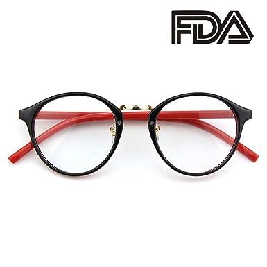 c927bb7cb4 CGID CN65 Vintage Inspired Horned Rim Metal Bridge P3 UV400 Clear Lens  Glasses