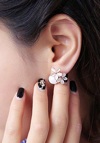 Generic Korean_Air_crystal_ earrings Earring eardrop _sweet_ pearl _shell ear Nail _goddess_fan_ retro _cat's_eye_stone_ lovely _wild_ earrings