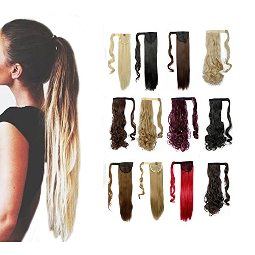 Wrap Around Synthetic Ponytail Clip in Hair Extensions One Piece Magic Paste Pony Tail Long Straight Soft Silky for Women Fashion and Beauty 23'' / 23 inch (Dark Brown to Ash (Sexy Ponytails)