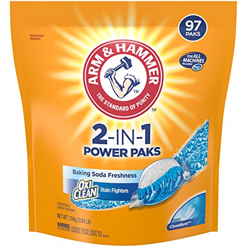 Arm & Hammer 2-IN-1 Laundry Detergent Power Paks, 97 Count (Packaging May Vary)