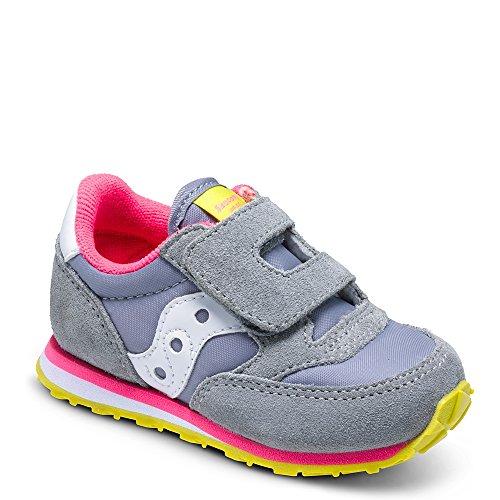 Saucony Jazz Hook & Loop Sneaker (Toddler/Little Kid), Grey/Pink, 7 M US Toddler