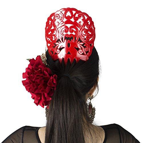 Spanish Comb - Ole Ole Flamenco Comb for Hair Red Flamenco Dancer Spanish Combs Peineta Flamenca Roja Ornamental Hair Pins