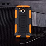HTC One M8 Case, Cocomii® [HEAVY DUTY] HTC One M8 Robot Case **NEW** [ULTRA FUTURE ARMOR] Premium Belt Clip Holster Kickstand Bumper Case - Full-body Rugged Protective Cover for HTC One M8 (Black/Orange) ★★★★★