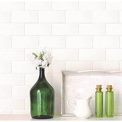 Brewster Paintable White Tile Wallpaper