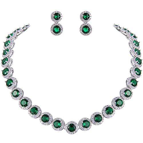 EVER FAITH Silver-Tone Round Cubic Zirconia May Birthstone Row Necklace Earrings Set Green