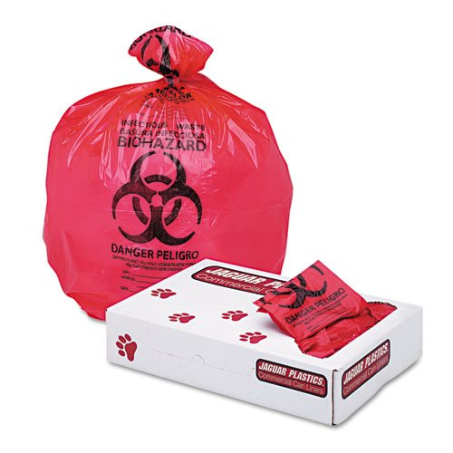 Jaguar Plastics Health Care ''Bio-hazard'' Printed Liners, 1.3mil, 24 x 32, Red - Includes 250 per case.