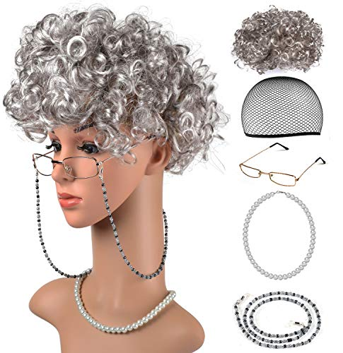 Beelittle Old Lady Costume Grandmother Cosplay Accessories Set - Granny Wig Wig Cap Glasses Pearl Necklace -
