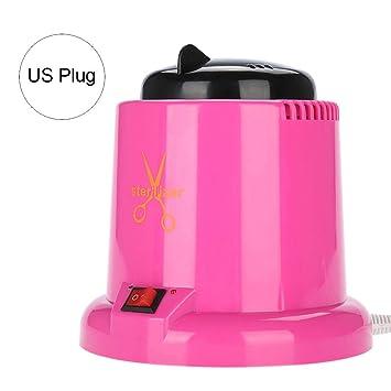 Herramienta de uñas Esterilizador Tijeras pinzas Nail Art Máquina de desinfección Manicura Herramientas de metal Esterilizador Caja Rosa Rojo(EU Plug 220V): ...