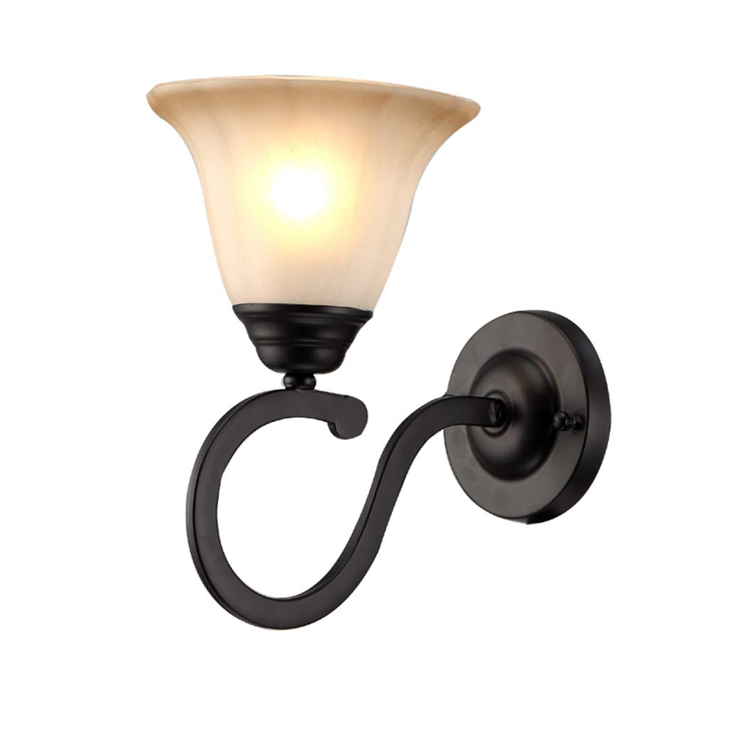 MLX Wandlampe, LED Wandlampe Europäische Wandlampe Schmiedeeisen Einfache Europäische Schlafzimmer Bar Fenster Bar Restaurant Perle Schwarz Wandlampe
