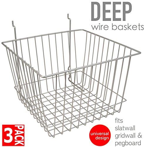 - Only Garment Racks #8456 Chrome (Pack of 3) Only Garment Racks Deep Wire Baskets For Gridwall, Slatwall and Pegboard - Chrome Finish - Set of 3