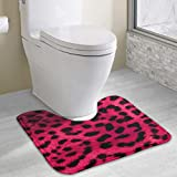 Anti-Slip Memory Foam Toilet U-Shaped Bath Mats Floor Pad Rugs Home Decor Nursery Rugs Indoor Entryway Rug, Machine-Washable/Fast Drying Doormat, Leopard Print Wallpaper 8