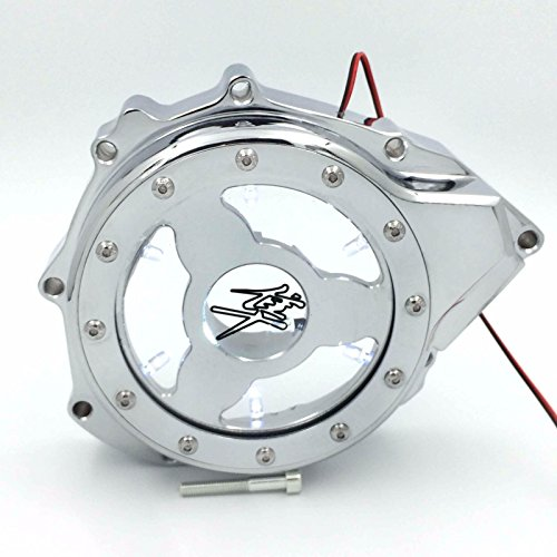 HTT- Glass See Through Engine Stator Cover For Suzuki GSXR1300 Hayabusa 1999-2013 Chrome w/ White led