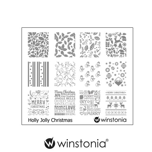 ing Plates Nail Art Image Stencil Manicure Template Christmas Winter Holiday (Holly Jolly Christmas) ()