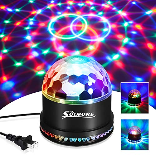 Party Lights,SOLMORE Disco Ball Disco Lights DJ Light Stage Strobe Effects 7 Colors LED Stage Light for Home Room Dance Parties Birthday Bar Karaoke Xmas Wedding Show Club Pub ()